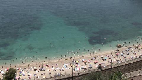 High Angle View Of Tourists On Beach ライブ動画