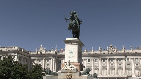Statue Of King Charles Iii In Plaza Mayor Footage