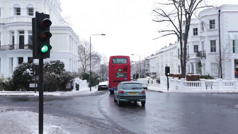 Vehicles Moving on Road I Winter, Notting Hill, London, United Kingdom Live Action