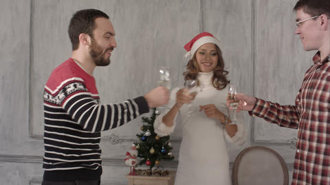 Friends talk and dance during christmas party Footage