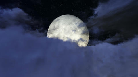 Full moon seen in the clouds footage Footage