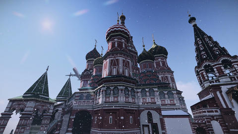 Plane passing at The Cathedral of Vasily the Blessed in Moscow, Russia footage Footage