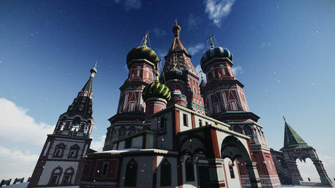 The Cathedral of Vasily the Blessed in Moscow, Russia footage Footage