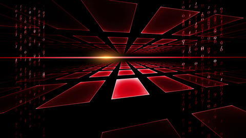 Internet Concept, Data Flow, Red Geometrical Horizon, Communication Concept Animation
