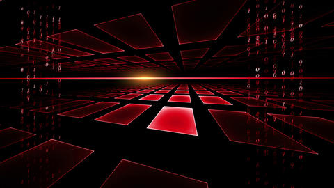 Internet Concept, Data Flow, Red Geometrical Horizon,... Stock Video Footage