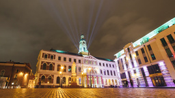 Time lapse of Riga City council during a light festival Footage