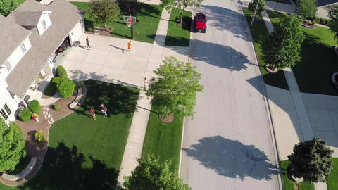 Residential houses from above overhead aerial view Footage