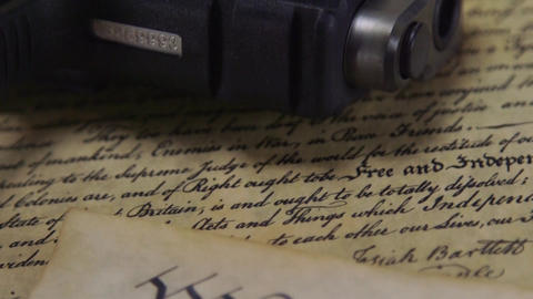 US Constitution with Hand Gun - Right To Keep and Bear Arms Footage