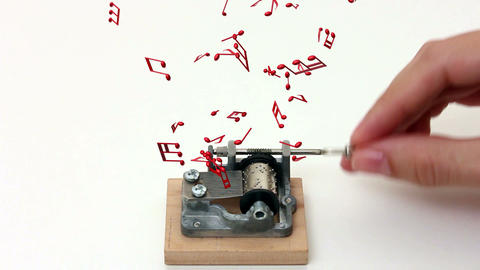 music notes flying out of music box on white background Footage