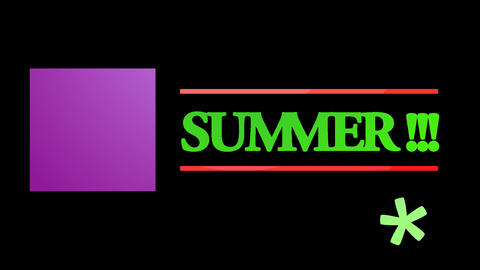 Animation with the word summer Animation