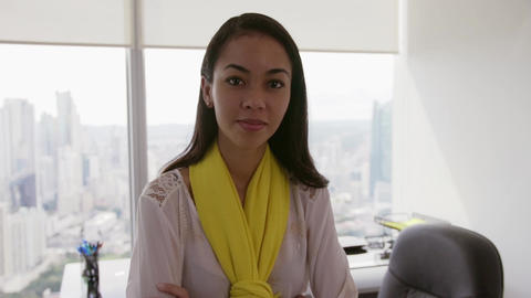 10 Portrait Of Business Woman With Arms Crossed In Executive Office Footage