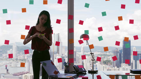 3 Business Person Attaching Sticky Notes On Large Window Footage