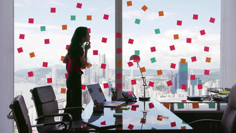 2 Business Person Attaching Sticky Notes On Large Window Footage