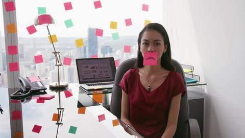 6 Business Person Attaching Sticky Notes On Large Window Footage