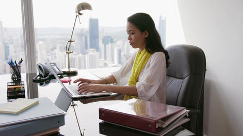 7 Business Woman Secretary Typing Fast On Laptop In Office Footage