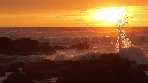 Sunset Bright Waves In Ocean stock footage