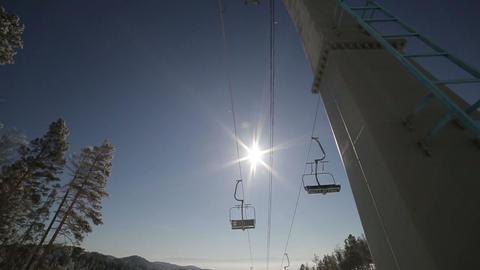 Ski Lift Winter Sun stock footage