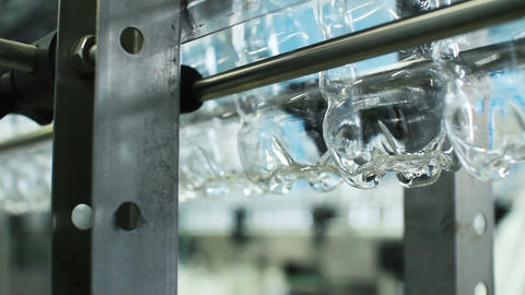 Empty water bottle production line Footage
