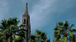 Spain Gran Canary Arucas 005 towers of cathedral between palm trees Footage