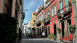 Spain Gran Canary Arucas 007 street view in old town pedestrian zone Footage