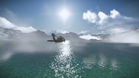 Helicopter flying over a lake footage Live Action