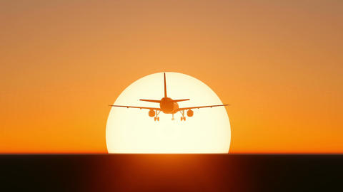Plane taking off on sunset or sunrise footage Live Action