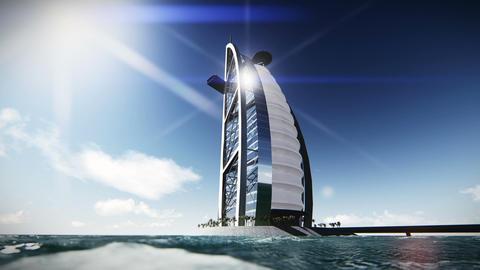 Hotel Burj Al Arab From The Sea Footage stock footage