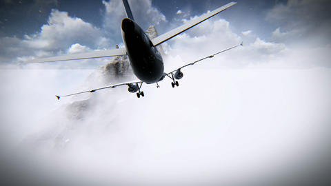 Aircraft flying through the clouds and going against a mountain footage Footage