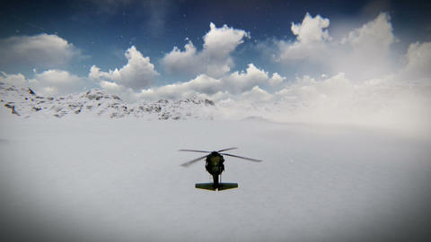 Helicopter Flying Over The Snow Footage stock footage
