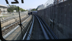 Train Entering Black Tunnel, View From Driver Cabin, POV, FPV, Modern Subway stock footage