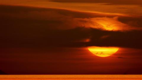Establishing Cinematic Sunset in the Mediterranean Sea Ultra Telephoto Footage