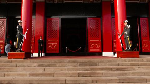Main Shrine building honour guards stand still, parallax shot Footage