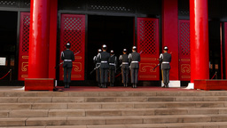 Honour guard troop stand face to Shrine entrance, loud voice sound Footage
