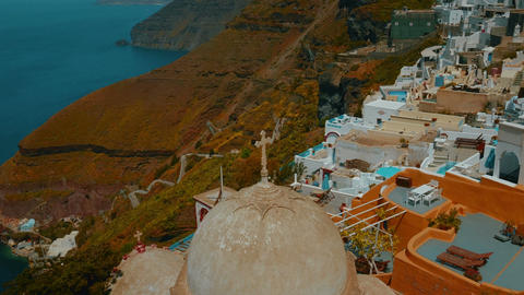 Establishing Wide Angle Shot of a Traditional Cycladic Village and the Aegean Me Footage