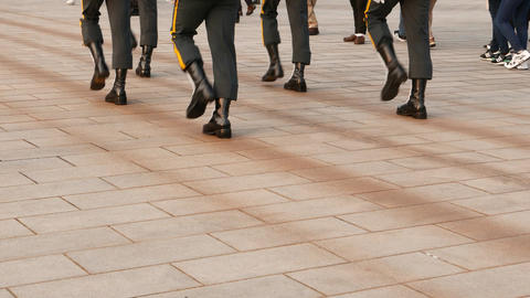 Soldiers legs march during ceremonial guard change, Martyr's Shrine, Taipei Footage