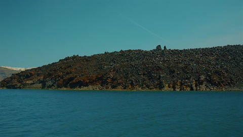Mediterranean Cruise Ship Approaching a Volcanic Island Footage