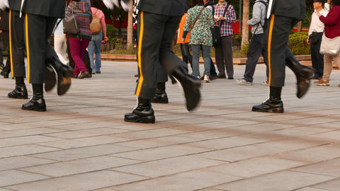 Feet of marching soldiers, ceremonial steps with loudly sounds Footage