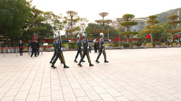 Slow and stately procession march of military officers during ceremony Footage