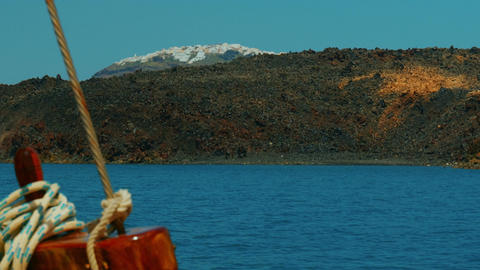 Mediterranean Cruise Approaching a Volcanic Island with Nautical Details Footage