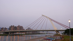 Modern one pillar cable-stayed bridge, Dazhi Bridge in twilight Footage