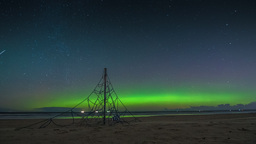 Aurora Borealis (Northern Lights) on a beach playground Footage