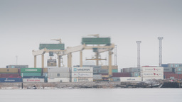Harbour cranes shifting containers on a misty winter day Footage