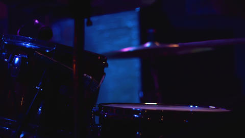 Drummer playing the drum kit at a concert Footage