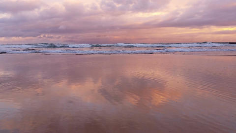 Beach Seascape Sunset Of The Ocean With Waves Breaking On Coast stock footage