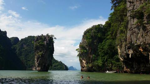 4K Thailand - Tropical Paradise of James Bond Island Phang-Nga Bay Footage