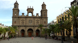 Spain Gran Canary Las Palmas city 001 cathedral and plaza de Santa Ana Footage