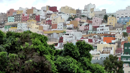 Spain Gran Canary Las Palmas city 007 colorful residential district on hill Footage