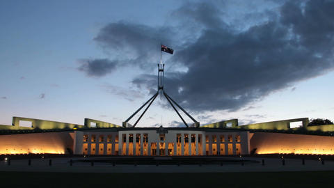 Canberra Australia, Parliament House time lapse sunset Footage