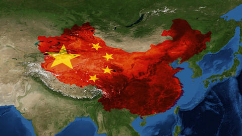 China from space with flag - zoom Footage
