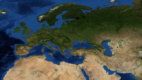 Eastern Europe From Space Zoom stock footage